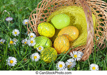 Easter Eggs in a Basket and Flowers