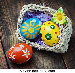 Easter eggs in a basket on the table