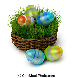 Easter eggs in a basket with a grass - Coloured Easter eggs...