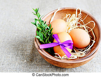 Easter eggs in a bowl, food closeup