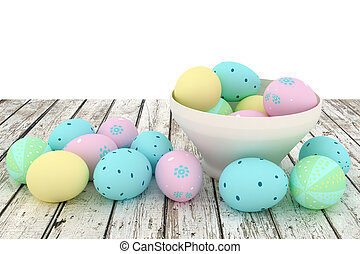 Easter eggs in a bowl on wooden board isolated on white background.