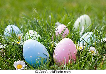 Easter eggs in a garden