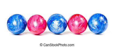 Easter eggs in a row, isolate on a white background