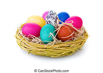 Easter eggs in backet isolated on white. - Easter eggs in...