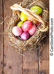 Easter eggs in basket - Colorful polka dot eggs in basket...