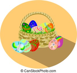 Easter eggs in basket flat design icon