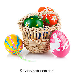 easter eggs in basket