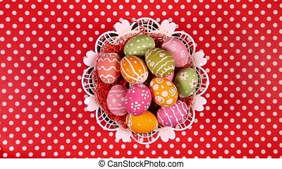Easter eggs in basket rotating