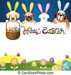 Easter Eggs in Basket with Dogs