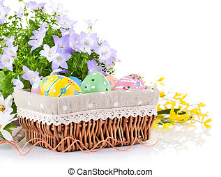 easter eggs in basket with spring flowers