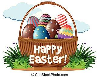 Easter eggs in brown basket illustration