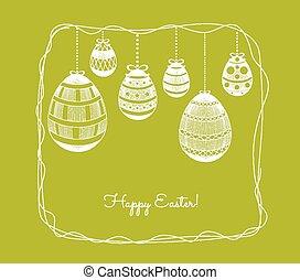 Easter eggs in doodle frame