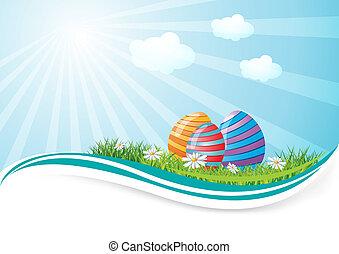 Easter eggs in field