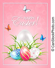 Easter eggs in grass and butterflies on pink background