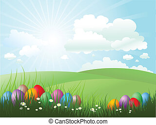 Easter eggs in grass on a sunny day