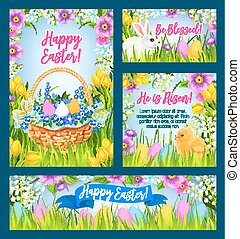 Easter eggs in grass greeting banner template