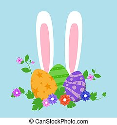 Easter eggs in green grass with flowers, isolated on white background. Vector illustration.
