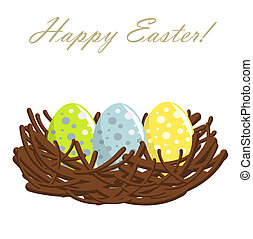 Easter eggs in nest - Easter nest with colorful eggs. Vector...