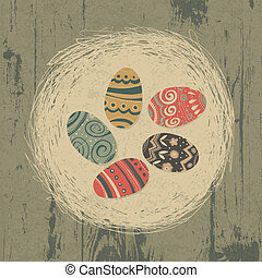 Easter eggs in nest on wooden texture. Easter background, retro styled.