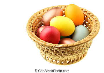 Easter eggs in straw bowl