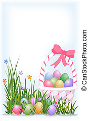 Easter eggs in the basket and eggs hidden in the grass