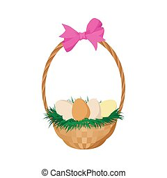 Easter eggs in the basket cartoon icon
