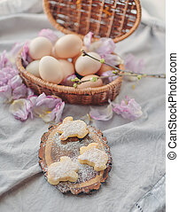 Easter eggs in the basket composition
