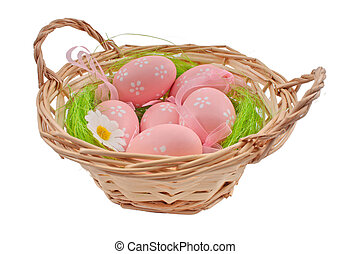 easter eggs in the basket isolated on the white background