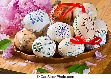 Easter Eggs in the Ceramic Bowl on the Table