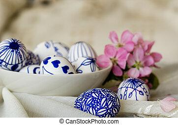Easter eggs in the dish, celebration, easter, religion
