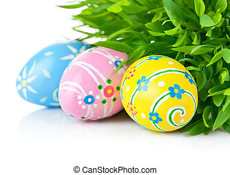 Easter eggs in the green grass