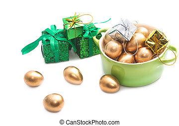 Easter eggs in the green pot
