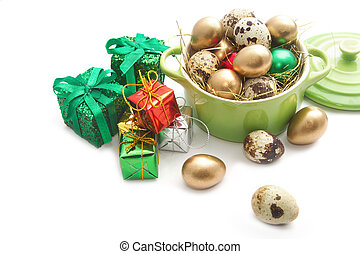 Easter eggs in the green potpot