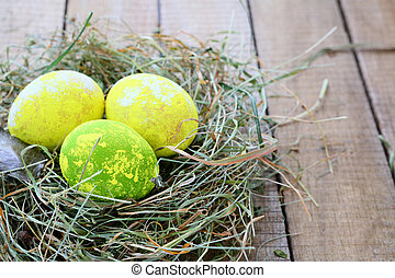 Easter eggs in the hay