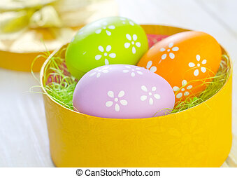 easter eggs in yellow box