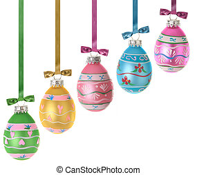 Easter eggs. - Isolated Easter eggs and ribbons.