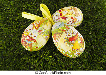 Easter eggs isolated on green