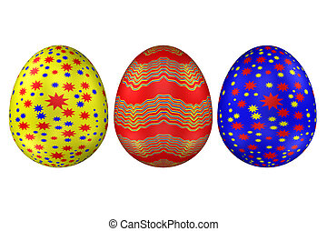 Easter Eggs, isolated on white background.