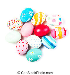 Easter eggs isolated on white background  with copyspace. Happy Easter!