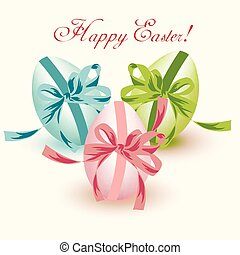 Easter eggs isolated on white with bows green, pink, blue