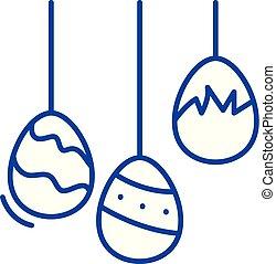 Easter eggs line icon concept. Easter eggs flat vector symbol, sign, outline illustration.