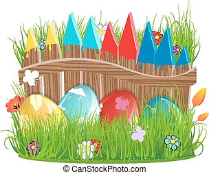 Easter eggs near a wooden fence