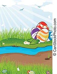 Easter eggs near the creek.