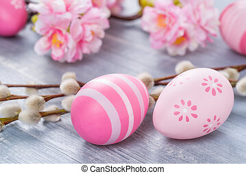 Easter eggs on a blue wooden background