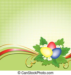 Easter eggs on a checkered background