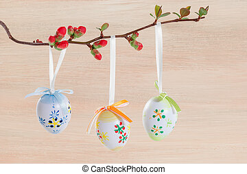 Easter eggs on a flowering branch