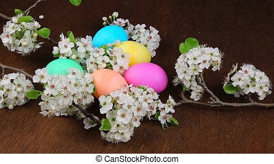 Easter eggs on a flowering tree bra - Easter eggs on a...