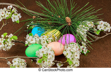 Easter eggs on a flowering tree branch