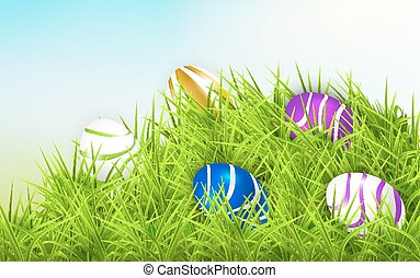 Easter eggs on a green hill
