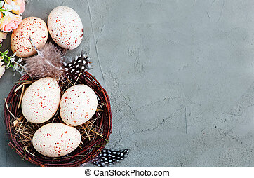 easter background - easter eggs on a tabble, easter...